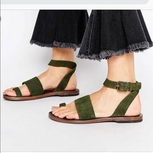 NEW Free People Torrence ankle wrap suede sandal